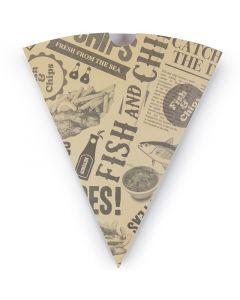 Vegware Newspaper Print Chip Cone - Compostable