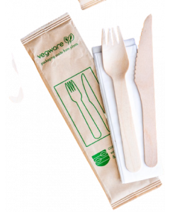 Vegware Compostable Wooden Cutlery Kit (Knife & Fork) 3 pcs
