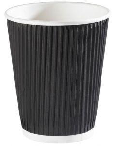 12oz Black Ripple Wall Hot Drink Cup