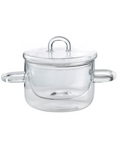 Thermic Double-Walled Glass Pot with Dual Handles & Lid