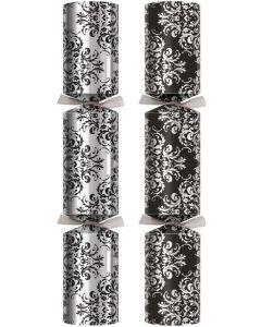"14"" Black & Silver Damask Luxury Christmas Crackers (Box50)"