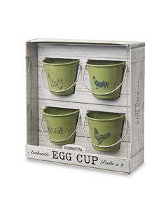 Hen and Rooster Sage Egg Cup Pails
