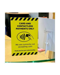CARD & CONTACTLESS PAYMENTS ONLY COUNTERTOP FREESTANDING NOTICE
