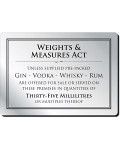 Weights & Measures Act Notice 35ml (No Frame)