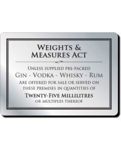 Weights & Measures Act Notice 25ml (No Frame)