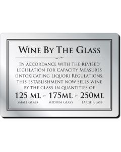 Wine By The Glass Bar Notice 125, 175 & 250ml (No Frame)