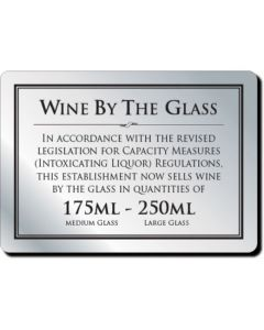 Wine By The Glass Bar Notice 175 & 250ml (No Frame)