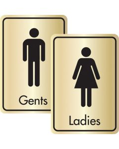 Black On Gold Toilet Signs