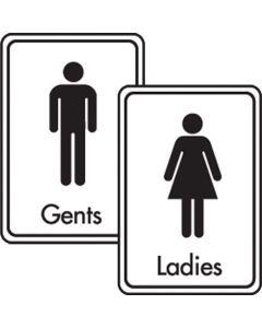 Black On White Toilet Signs