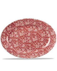 """Cranberry Victorian Calico Oval Dish 14.3"""""""