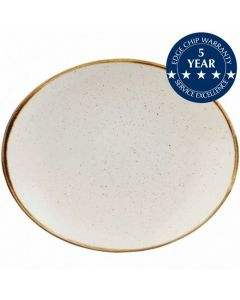 """Churchill Stonecast Oval Plate 7.75"""" Barley White"""
