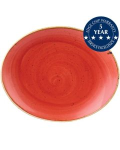 """Churchill Stonecast Oval Coupe Plate 7.75"""" Berry Red"""