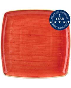 """Churchill Stonecast Square Plate 10.5"""" Berry Red"""