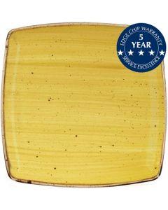 "Churchill Stonecast Deep Square Plate 10.5"" Mustard Seed Yellow"