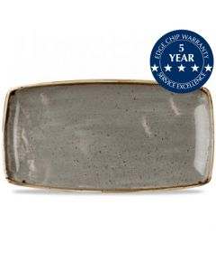 "Churchill Stonecast Oblong Plate 14"" Peppercorn Grey"