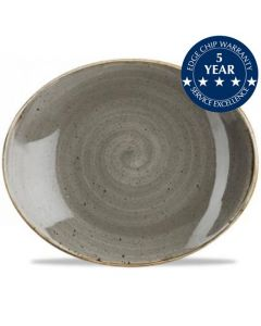 """Churchill Stonecast Oval Coupe Plate 7.75"""" Peppercorn Grey"""