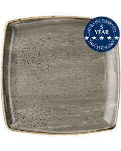 "Churchill Stonecast Deep Square Plate 10.5"" Peppercorn Grey"