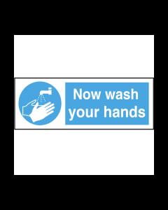 Now Wash Your Hands Text & Symbol Vinyl Sticker