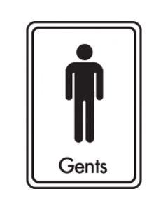 Black on White Gents Toilet Sign