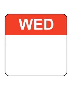 Food Labels Square 25x25mm Wednesday (Red)