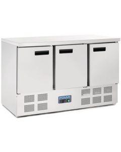 Polar 3 Door Counter Fridge 368Ltr