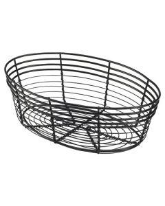 Genware 25.5x 16x 8cm Oval Black Wire Basket