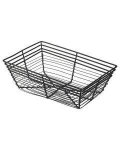 Genware 23x 15x 7.5cm Rectangle Black Wire Basket