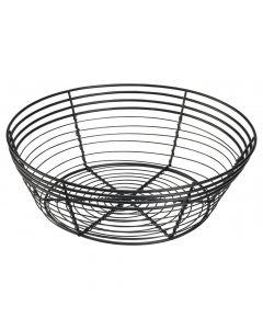Genware 25.5x 8cm Round Black Wire Basket
