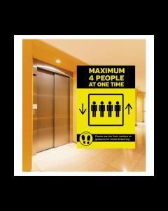 Maximum 4 People Lift Sign
