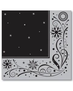 Black & Silver Snowflake Swirl