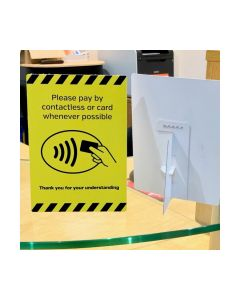 Please Pay By Contactless Card Whenever Possible Countertop Freestanding Notice