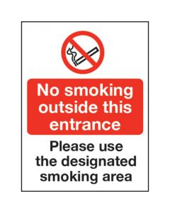 No smoking outside this entrance / Designated Smoking area Sign - Window Sticker Vinyl