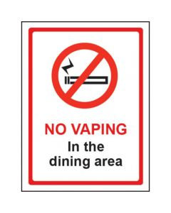 No Vaping In The Dining Area Sign - Window Sticker Vinyl