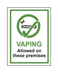 Vaping Allowed On These Premises Sign - Window Sticker Vinyl