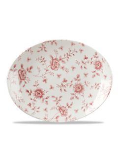 """Cranberry Rose Chintz Oval Plate 12"""""""