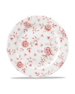 "Cranberry Rose Chintz Plate 10.8"""