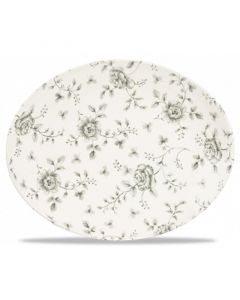 """Grey Rose Chintz Oval Plate 12.5"""""""