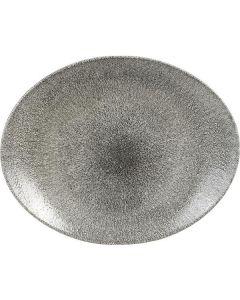 "Churchill Raku Oval Coupe Plate 11"" Quartz Black"