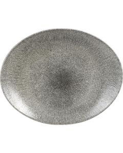 "Churchill Raku Oval Coupe Plate 12.5"" Quartz Black"