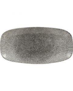 """Churchill Raku Chef's Oblong Plate 14"""" Quartz Black"""