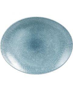 "Churchill Raku Oval Coupe Plate 12.5"" Topaz Blue"