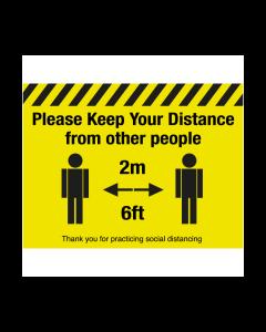 Non Slip Please Keep Your Distance Floor Graphic