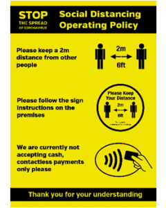 Shops & Retail Social Distancing Operating Policy Waterproof poster