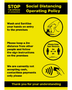Social Distancing & Sanitize Operating Policy Poster