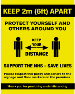 Keep 2M Apart - Social Distancing Customer Notice (Waterproof Poster)