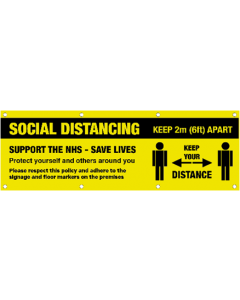 8ft x 3ft Social Distancing Banner