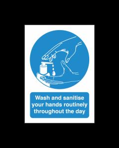 Wash & Sanitise Routinely Vinyl Sticker Notice