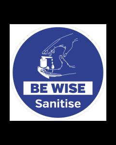 Non Slip Be Wise Sanitise Floor Graphic
