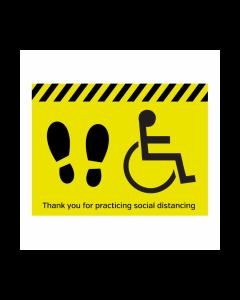 Disabled symbol social distancing floor vinyl graphic 400x300mm