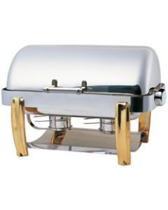 Elia Oblong Roll Top Chafing Dish with Brass Accents
